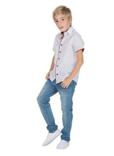 Silversun Kids Erkek Genç Desenli Kısa Kollu Dokuma Gömlek Gc 316242 Mavi